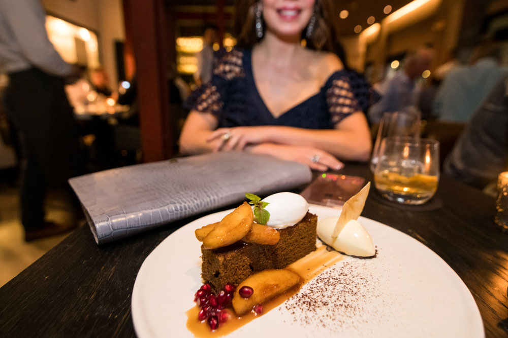 Shireen's Spotlight at Stubborn Seed. Stout Cake with caramelized apples and ginger ice cream. Shireen Sandoval weekly fashion and food blog based out of Miami, Florida.